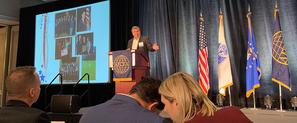 Bob Chisholm, Chairman, AFCEA Educational Foundation speaking at the 2019 New Horizons